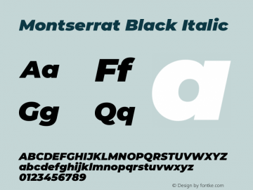 Montserrat Black Italic Version 7.200 Font Sample