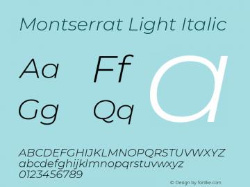 Montserrat Light Italic Version 7.200图片样张