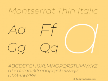 Montserrat Thin Italic Version 7.200图片样张