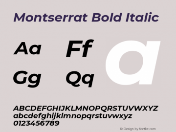 Montserrat Bold Italic Version 7.200图片样张