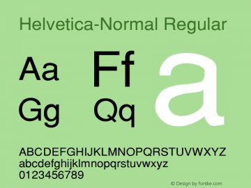 Helvetica-Normal Regular Converted from c:\alltype\SWZN.TF1 by ALLTYPE Font Sample