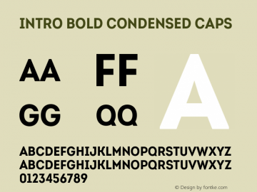 Intro-BoldCondensedCaps Version 1.000图片样张