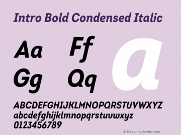 Intro-BoldCondensedItalic Version 1.000图片样张