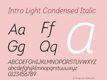 Intro-LightCondensedItalic Version 1.000图片样张