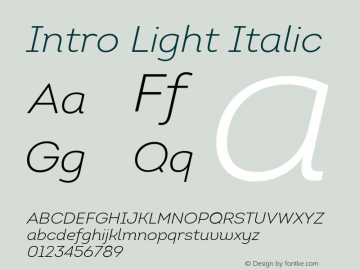 Intro-LightItalic Version 1.000图片样张