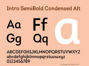 Intro-SemiBoldCondensedAlt Version 1.000图片样张