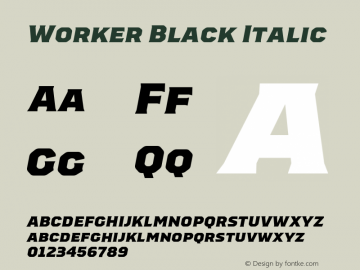 Worker-BlackItalic Version 1.00图片样张