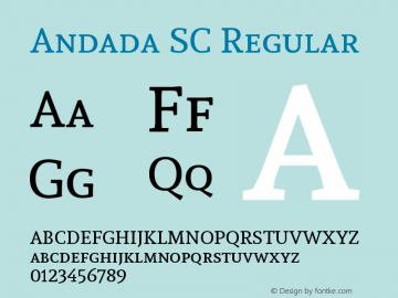 Andada SC Regular Version 1.003 Font Sample