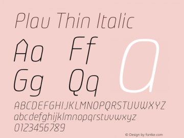 Plau-ThinItalic Version 2.001;PS 002.001;hotconv 1.0.70;makeotf.lib2.5.58329;com.myfonts.easy.niramekko.plau-italics.thin.wfkit2.version.46eB图片样张