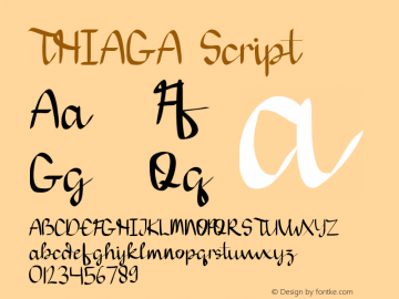 THIAGA Script Version 1.002;Fontself Maker 3.2.2图片样张