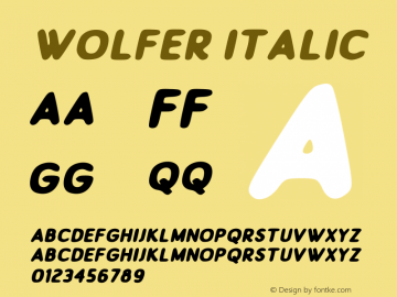 Wolfer Italic Version 1.00;July 31, 2019;FontCreator 11.5.0.2430 64-bit图片样张