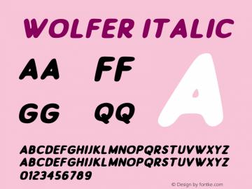 Wolfer Italic Version 1.00;July 31, 2019;FontCreator 11.5.0.2430 64-bit图片样张