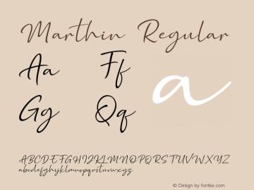 Marthin Version 1.00;August 9, 2019;FontCreator 12.0.0.2545 64-bit图片样张