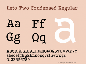LetoTwoCondensed-Regular Version 1.000 2013 initial release图片样张