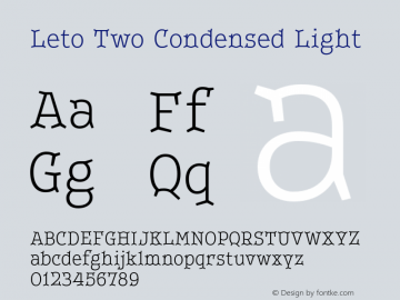 LetoTwoCondensed-Light Version 1.000 2013 initial release图片样张