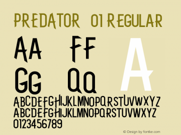 PREDATOR-01 Version 1.002;Fontself Maker 1.1.1图片样张