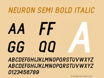 neuron Semi Bold Italic Version 1.000图片样张