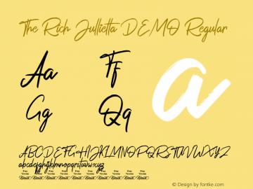 The Rich Jullietta DEMO Version 1.00;July 12, 2019;FontCreator 11.0.0.2408 32-bit图片样张