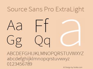 Source Sans Pro ExtraLight Regular Version 1.050;PS 1.000;hotconv 1.0.70;makeotf.lib2.5.5900图片样张