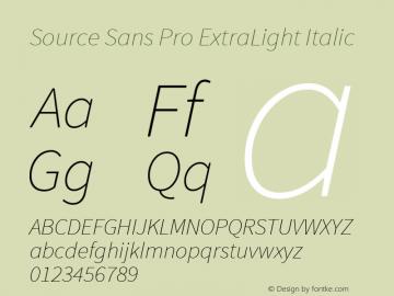 Source Sans Pro ExtraLight Italic Version 1.050;PS 1.000;hotconv 1.0.70;makeotf.lib2.5.5900图片样张