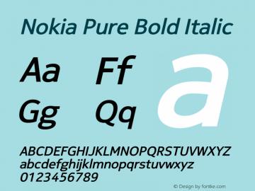 Nokia Pure Bold Italic Version 4.14 March 27, 2011 Font Sample
