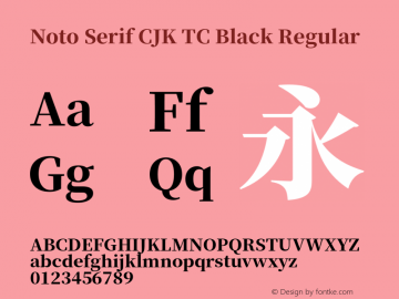 Noto Serif CJK TC Black Version 1.001;PS 1.001;hotconv 16.6.54;makeotf.lib2.5.65590图片样张
