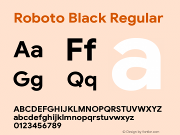 Roboto Black Version 2.003;August 3, 2019;FontCreator 11.5.0.2430 64-bit图片样张