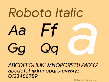Roboto Italic Version 2.003;August 4, 2019;FontCreator 11.5.0.2430 64-bit图片样张
