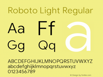 Roboto Light Version 2.003;August 5, 2019;FontCreator 11.5.0.2430 64-bit图片样张