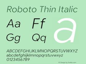 Roboto Thin Italic Version 2.003;August 5, 2019;FontCreator 11.5.0.2430 64-bit图片样张