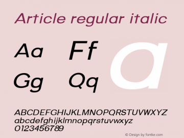 Article regular italic Version 1.000;hotconv 1.0.109;makeotfexe 2.5.65596;YWFTv17图片样张