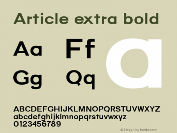 Article extra bold Version 1.000;hotconv 1.0.109;makeotfexe 2.5.65596;YWFTv17图片样张