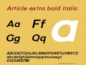 Article extra bold italic Version 1.000;hotconv 1.0.109;makeotfexe 2.5.65596;YWFTv17图片样张