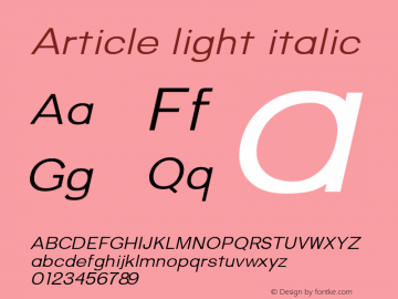 Article-lightitalic Version 1.000;hotconv 1.0.109;makeotfexe 2.5.65596;YWFTv17图片样张