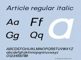 Article-regularitalic Version 1.000;hotconv 1.0.109;makeotfexe 2.5.65596;YWFTv17图片样张
