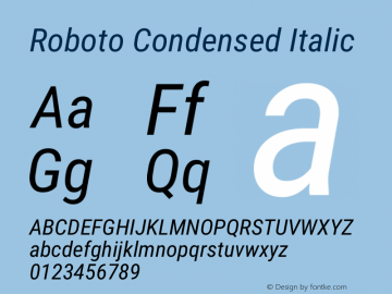 Roboto Condensed Italic Version 2.138; 2017图片样张