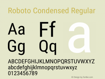 Roboto Condensed Regular Version 2.138; 2017图片样张