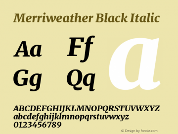 Merriweather Black Italic Version 2.006; ttfautohint (v1.8.2) -l 8 -r 50 -G 200 -x 14 -D latn -f none -a qsq -X