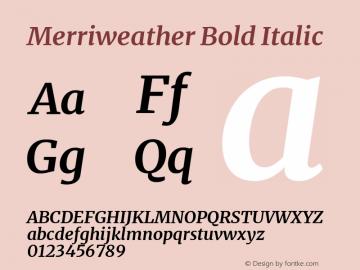Merriweather Bold Italic Version 2.006; ttfautohint (v1.8.2) -l 8 -r 50 -G 200 -x 14 -D latn -f none -a qsq -X