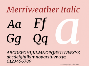 Merriweather Italic Version 2.006; ttfautohint (v1.8.2) -l 8 -r 50 -G 200 -x 14 -D latn -f none -a qsq -X