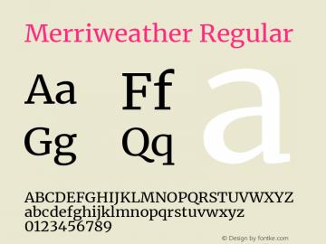 Merriweather Regular Version 2.006; ttfautohint (v1.8.2) -l 8 -r 50 -G 200 -x 14 -D latn -f none -a qsq -X