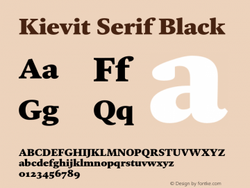 KievitSerif-Black Version 1.00图片样张