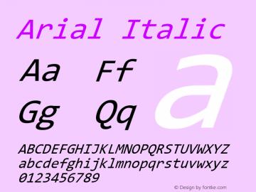 Arial Italic Version 9.0 ; ttfautohint (v1.8.3) -l 2 -r 96 -G 96 -x 96 -H 152 -D latn -f none -m