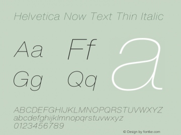 Helvetica Now Text Th It Version 1.00, build 4, s3图片样张