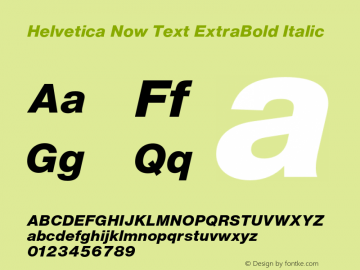 Helvetica Now Text XBd It Version 1.00, build 4, s3图片样张