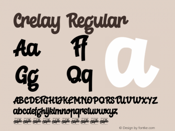 Crelay Version 1.00;August 18, 2019;FontCreator 11.5.0.2422 64-bit图片样张