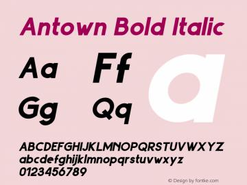 Antown Bold Italic Version 1.00;September 7, 2019;FontCreator 11.5.0.2422 64-bit图片样张