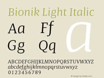 BionikLightItalic Version 1.002;hotconv 1.0.109;makeotfexe 2.5.65596;YWFTv17图片样张
