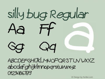silly bug Version 1.00;August 27, 2019;FontCreator 12.0.0.2545 64-bit图片样张