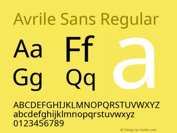 Avrile Sans Version 2.001;September 10, 2019;FontCreator 11.5.0.2425 64-bit图片样张